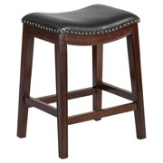 Backless Wood Counter Height Stool With Black Leather Saddle Seat