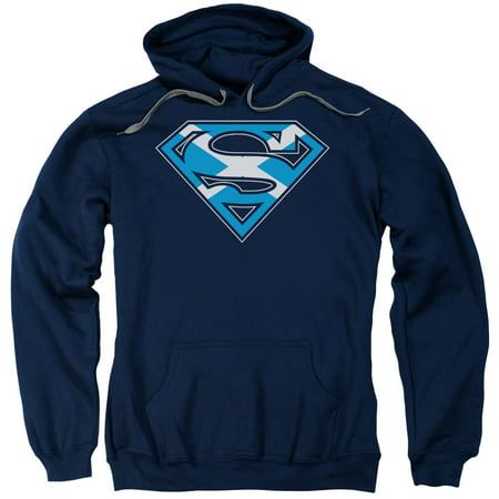SUPERMAN/SCOTTISH SHIELD-ADULT PULL-OVER HOODIE-NAVY-SM