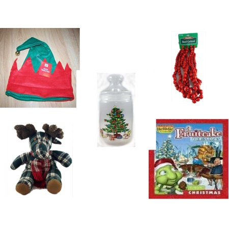 Holiday Fruitcake - Christmas Fun Gift Bundle [5 Piece] -  Elf Hat w/ Jingle Bell -  Time Red Bead Garland 9' Foot - Luminarc 1 Quart Decorated Apothecary Gift Jar - TB Trading Co. Plaid  Moose  13