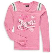 Jacksonville Jaguars New Era Girls Youth Love for My Team Long Sleeve Tri-Blend V-Neck T-Shirt - Pink