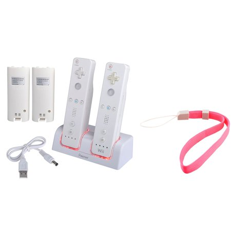 Insten Nintendo Wii / Wii U Remote Dual Charger Charging Station Dock with Battery + 2 Hand Straps