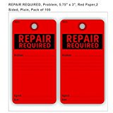 "REPAIR REQUIRED, Problem, 5.75"" x 3"", Red Paper, 2 sided, pack of 100"