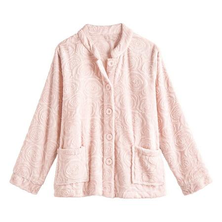 La Cera Women's Pink Roses Bed Jacket, Polyester Fleece Button Front Jacket Rose Pink Jacket