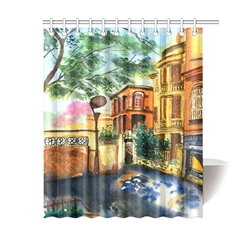GCKG Vintage Watercolor Summer Villas Shower Curtain Hooks 60x72 Inches Yellow Orange Warm Colors Fabric Old Art With Trees And