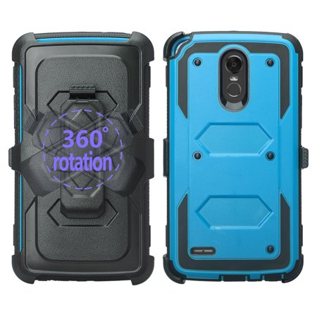 best authentic 0688f 4d7cb LG Stylo 3 Case, Triple Protection 3-1 w/ Built in Screen Protector Heavy  Duty Holster Shell Combo Case - Blue