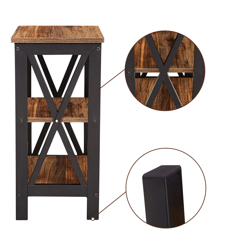 3 Tier Open Shelf Nightstand End Table Bedside Table With Storage Shelf X Shaped Metal Frame Vintage Brown Walmart Com Walmart Com