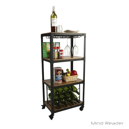 Mind Reader 4 Tier Wood and Metal Kitchen Cart with Wine Rack, Black](3 Tier Metal Stand)