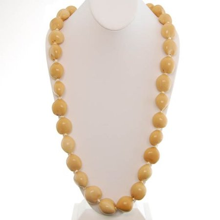Hawaiian Lei Necklace of Blonde Kukui Nuts
