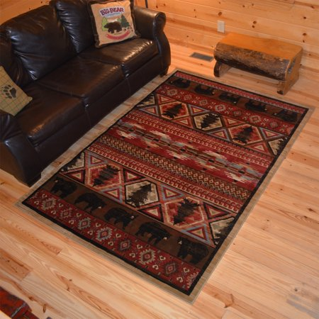 Lodge King Red Pine Rustic Southwest Area Rug