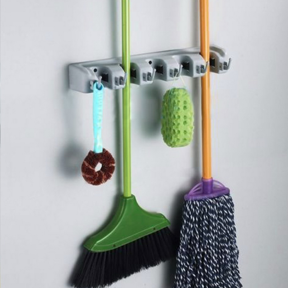 wall mounted mop organizer holder brush broom hanger storage rack kitchen tool - Broom Holder
