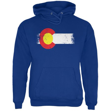 Born and Raised Colorado State Flag Mens Hoodie Deep Royal MD ()