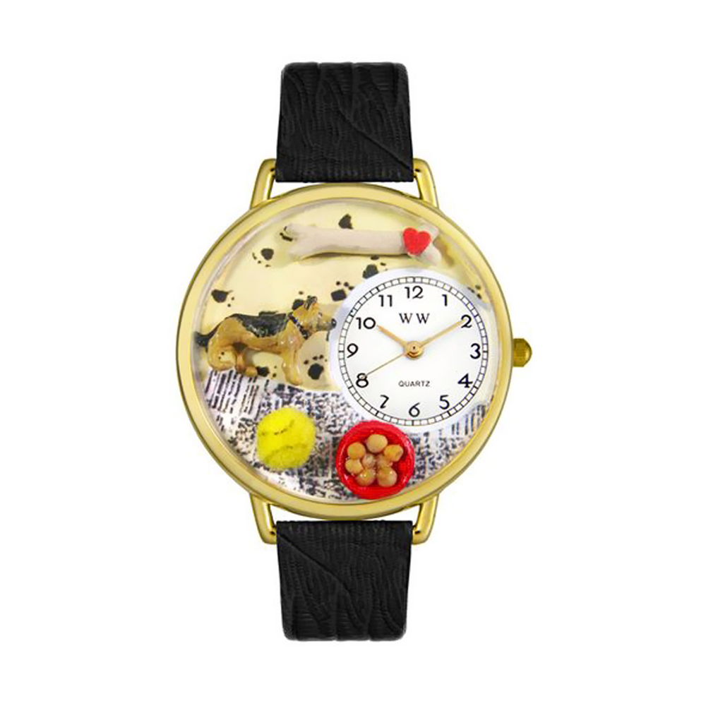 Whimsical German Shepherd Black Skin Leather And Goldtone Watch
