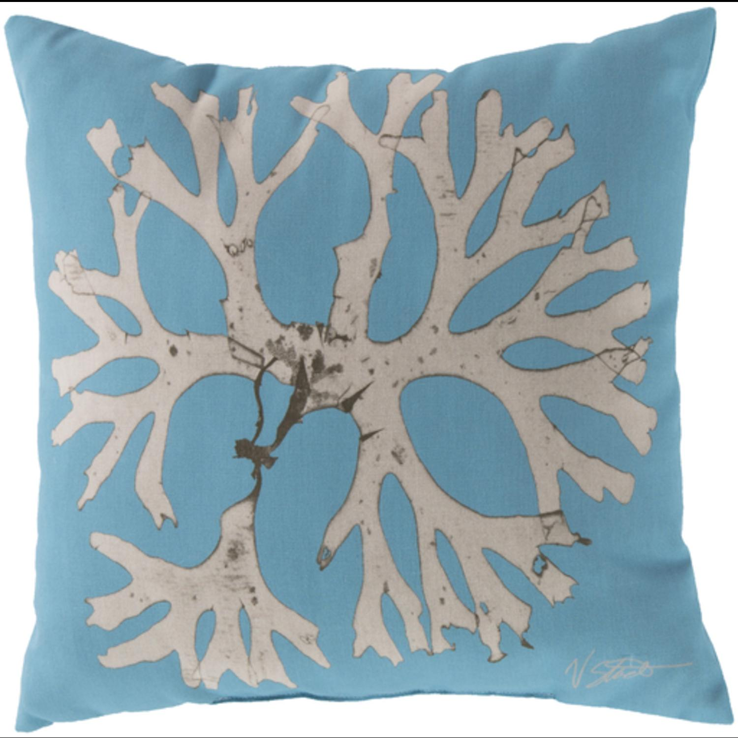 "18"" Teal and Beige Bosque Wing Decorative Throw Pillow"