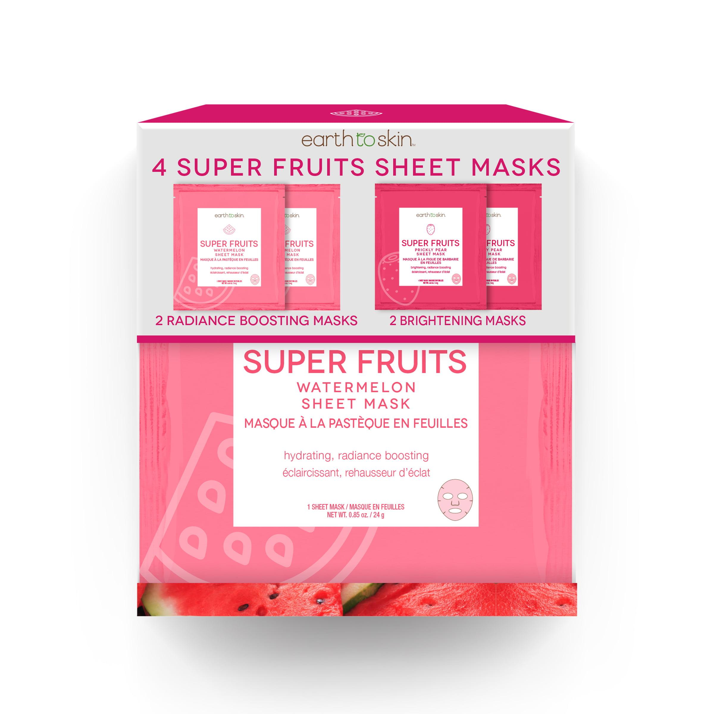 Earth To Skin Super Fruits Watermelon Sheet Masks 4 Pack Walmartcom