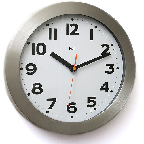 aluminum wall clock with large bold numbers