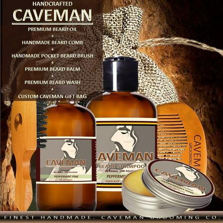 caveman set kit beard oil beard balm beard wash comb single brush. Black Bedroom Furniture Sets. Home Design Ideas
