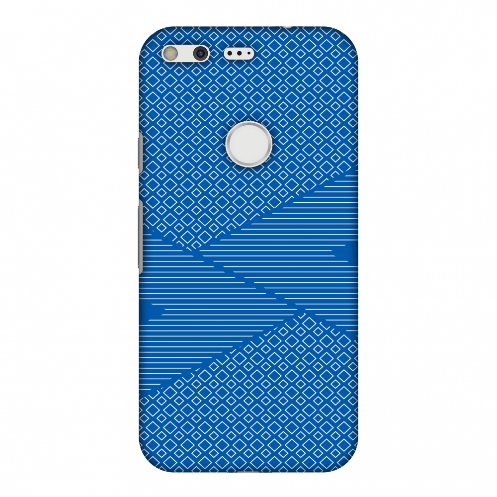 Google Pixel XL Case, Premium Handcrafted Designer Hard Shell Snap On Case Printed Back Cover with Screen Cleaning Kit for Google Pixel XL, Slim, Protective - Carbon Fibre Redux Coral Blue 6