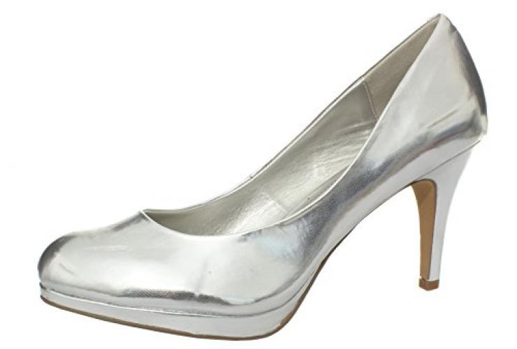 Amiana Women's Pump, Silver Metallic, 10 US