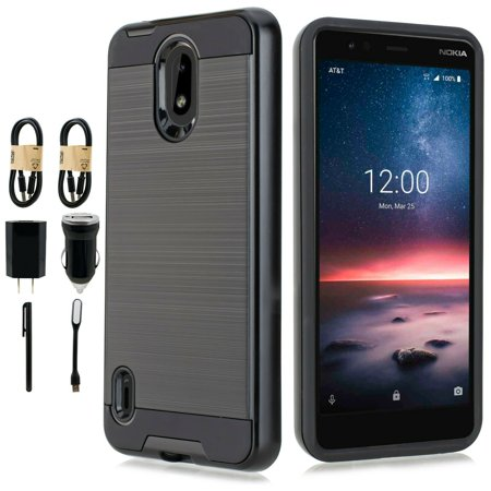 Value Pack Cables Chargers + for Nokia 3.1A (AT&T), 3.1 C (Cricket) Case Phone Cell Phone Case Brushed Hard Back Slip Dent Guard Hybrid Slim Shock Bumper Cover (Black)