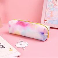 Michellem 1Pc Kawaii Pencil Case Colorful Pink Makeup Gift Bag School Pencil Box Pencil Case Pencil Bag School Supplies Stationery