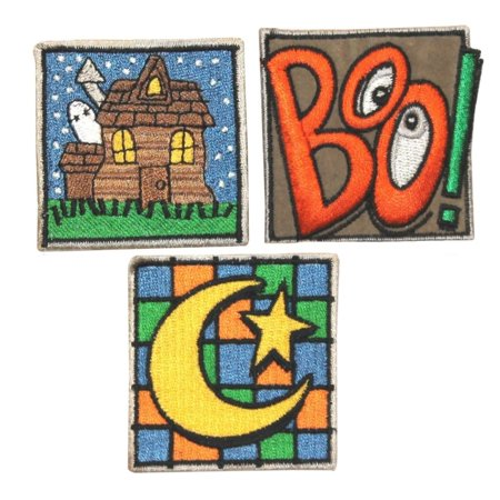 ID 0843ABC Set of 3 Halloween Badge Patches Theme Embroidered Iron On Applique - Halloween Themed Arts And Crafts