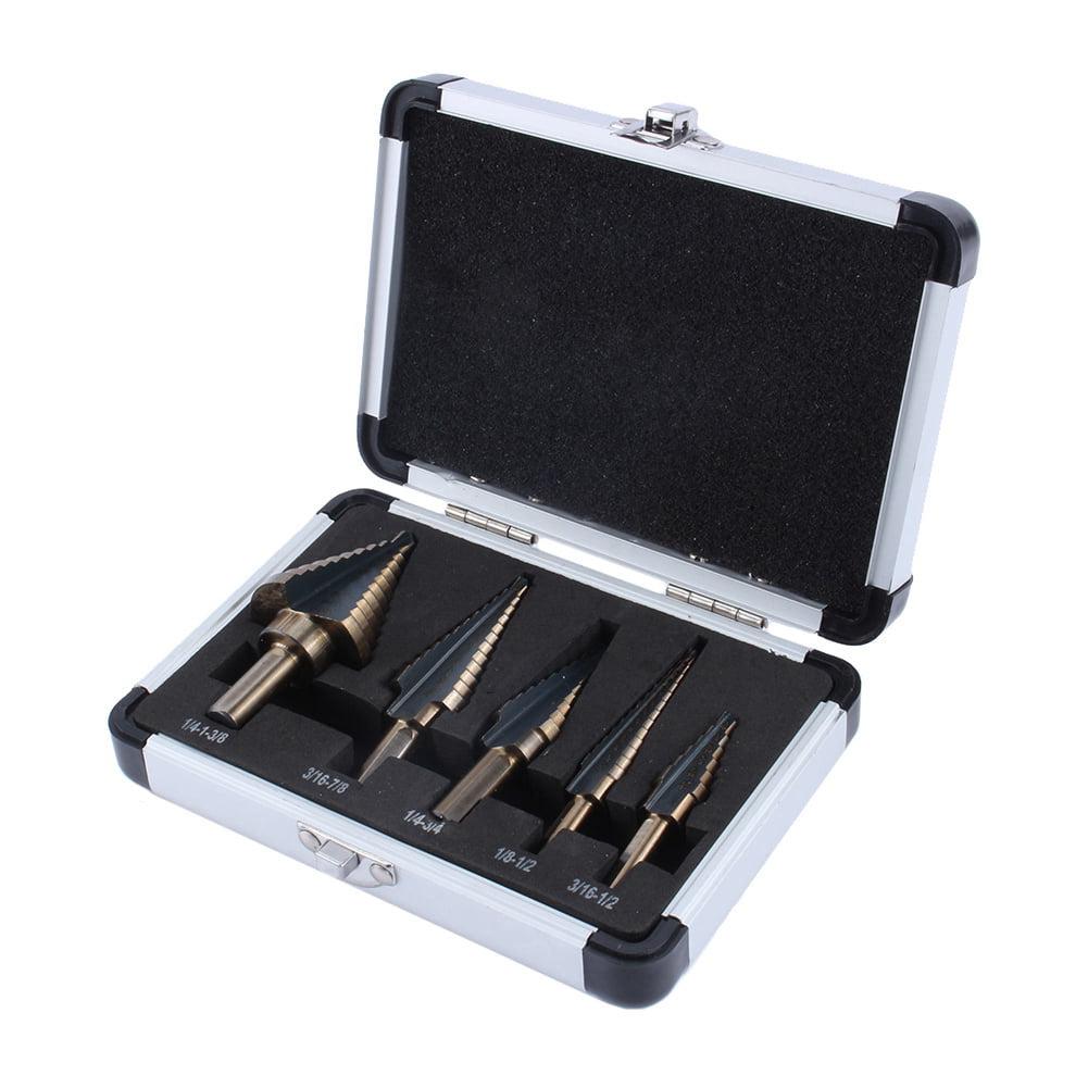 5pcs Hss Cobalt Multiple Hole 50 Sizes Step Drill Bit Set W//Aluminum Case