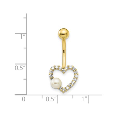 10k W/FW Cultured Pearl/Cz Heart Belly Dangle (27x12) 10k Yellow Gold - image 2 of 3
