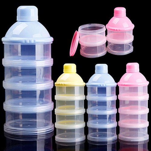 Girl12Queen Travel Kids Baby Feeding 4 Layers Milk Powder Dispenser Bottle Storage Container