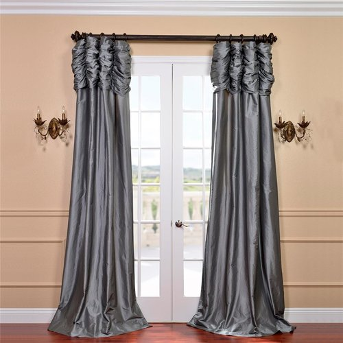 Exclusive Fabrics  Ruched Header Solid Color Faux Silk Taffeta 84-inch Curtain Panel