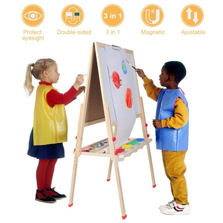 WALFRONT Adjustable Wooden Dry-Erase Board Standing Art Easel,Including Paper Roll and Accessories for Kids Play Early Education](Art Easel For Kids)