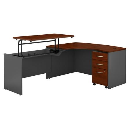 Graphite Gray Series - SRC127HCSU Bush Business Furniture Hansen Cherry / Graphite Gray Series C 60W x 43D Left Hand 3 Position Sit to Stand L Shaped Desk with Mobile File Cabinet