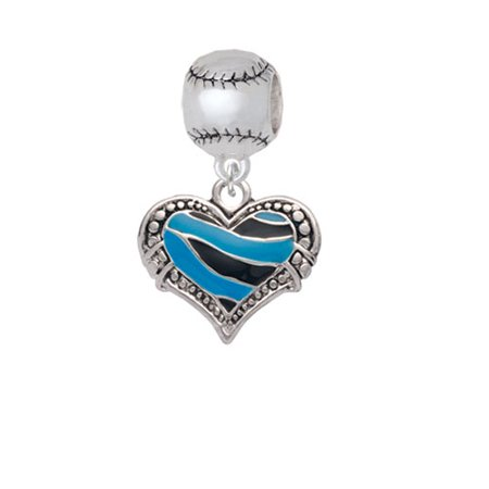 Hot Blue Tiger Print Heart - Softball Charm Bead