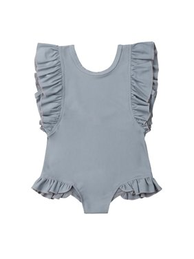 Styles I Love Toddler Kid Girl Ruffles Solid Color Scoop Back One-Piece Swimsuit Beach Bathing Pool Party Swimwear, 2 Colors (Grey, 100/2-3 Years)