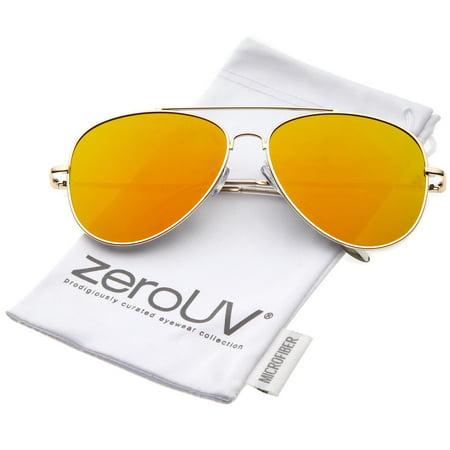 zeroUV - Large Metal Frame Colored Mirror Flat Lens Aviator Sunglasses 60mm - (Colored Aviators)