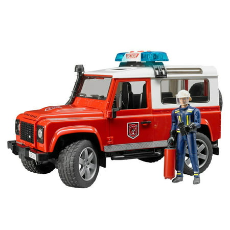 Bruder Toys Land Rover Station Wagon Light Up Fire Department Vehicle w/