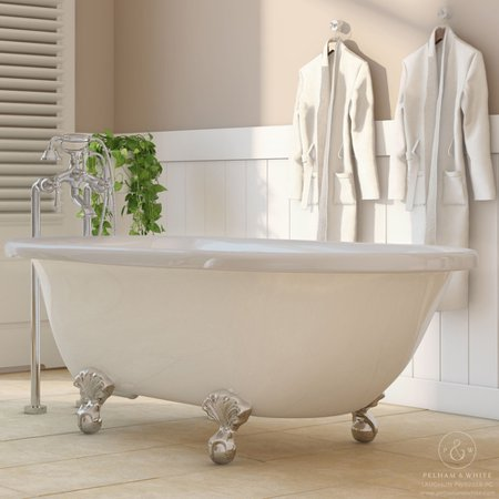 Pelham White Luxury 60 Inch Clawfoot Tub With Vintage Design In Includes Polished Chrome Ball And Claw Feet Drain From The Laughlin