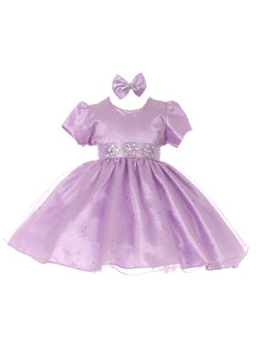 836cdfd49e8 Product Image Baby Girls Lilac Short Sleeve Sparkle Floral Stone Flower  Girl Dress
