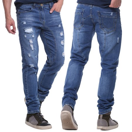 Denim Handsome Straight Distressed Jeans In Wash Blue Casual Pants for Men - Mariachi Pants For Sale