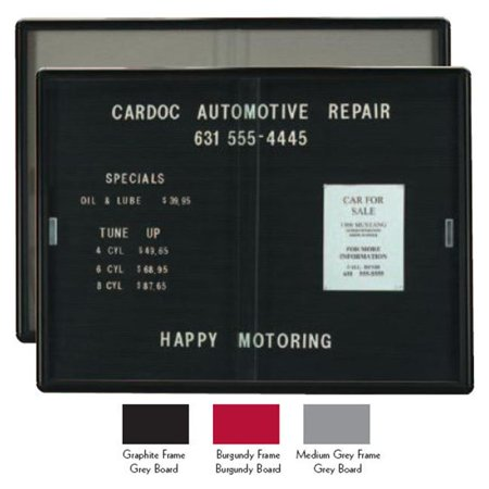 Aarco RSD3672BB Enclosed Radius Design Changeable Letter Board - Burgundy