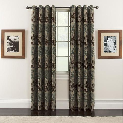 Lyndsay Chenille Leaf Grommet-top 84-inch Curtain Panel Pair
