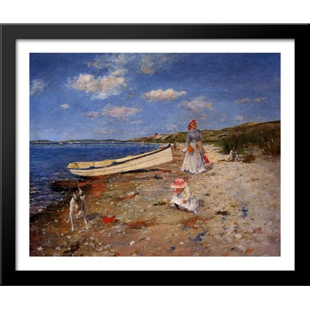 A Sunny Day at Shinnecock Bay 34x28 Large Black Wood Framed Print Art by William Merritt Chase