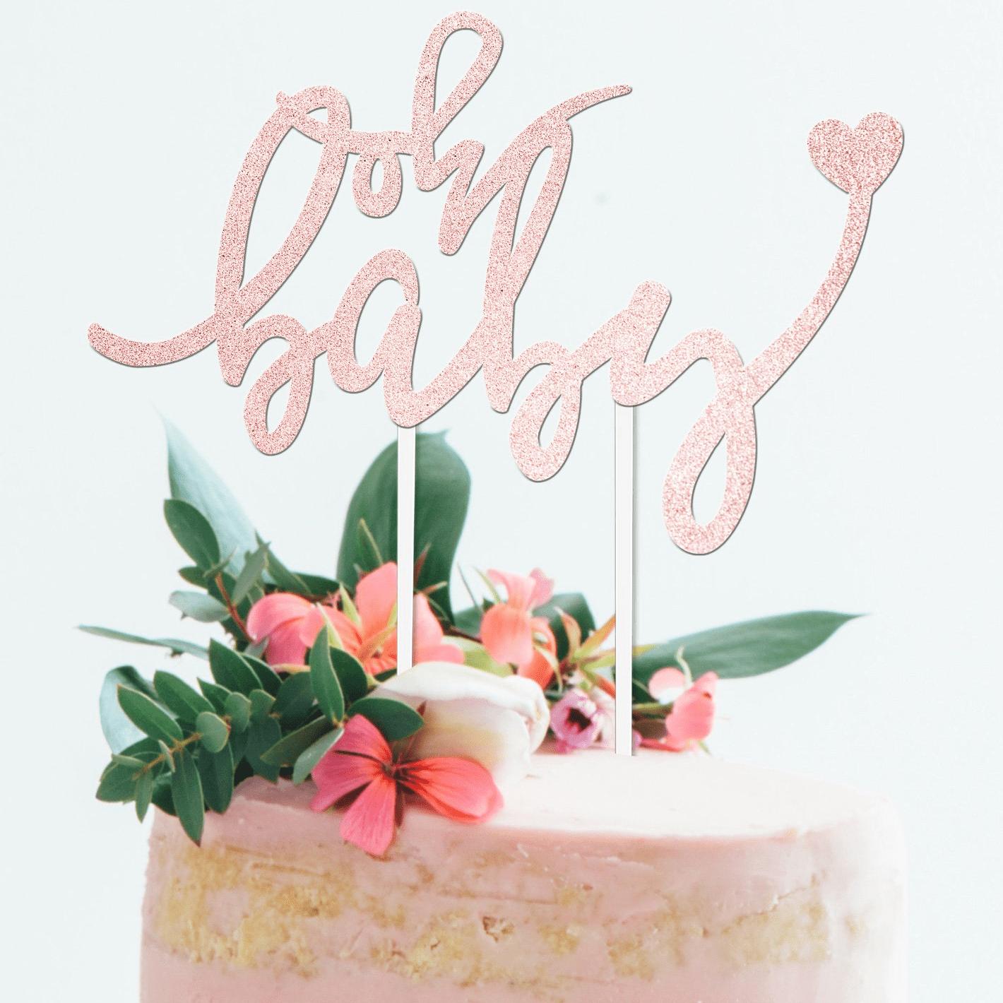 Baby Shower Baby Boy Gender Reveal Pregnancy Announcement Glitter Cake Topper