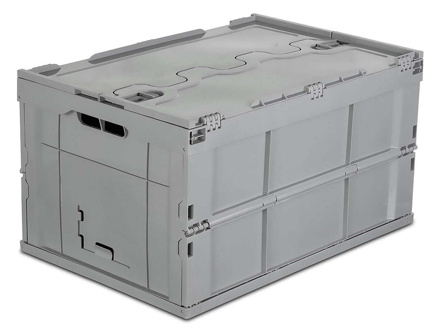 Mount It! Plastic Storage Crate, Collapsible Storage Box Container With  Attached Lid,