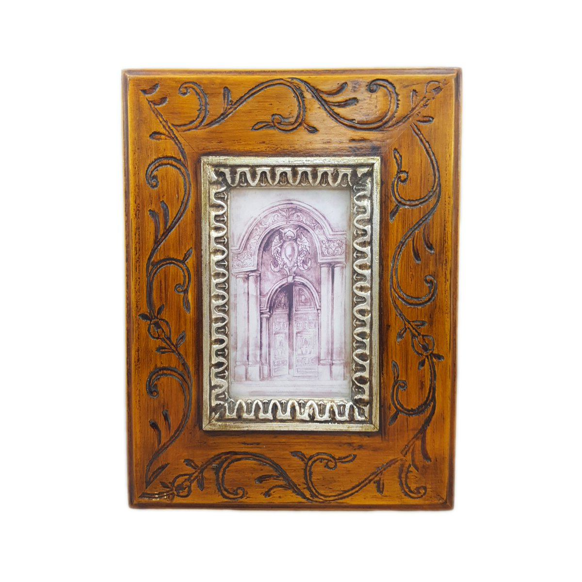 Rustic Scroll Design: Floral Scroll Design 10x11 Rustic Wood Photo Frame Holds 3