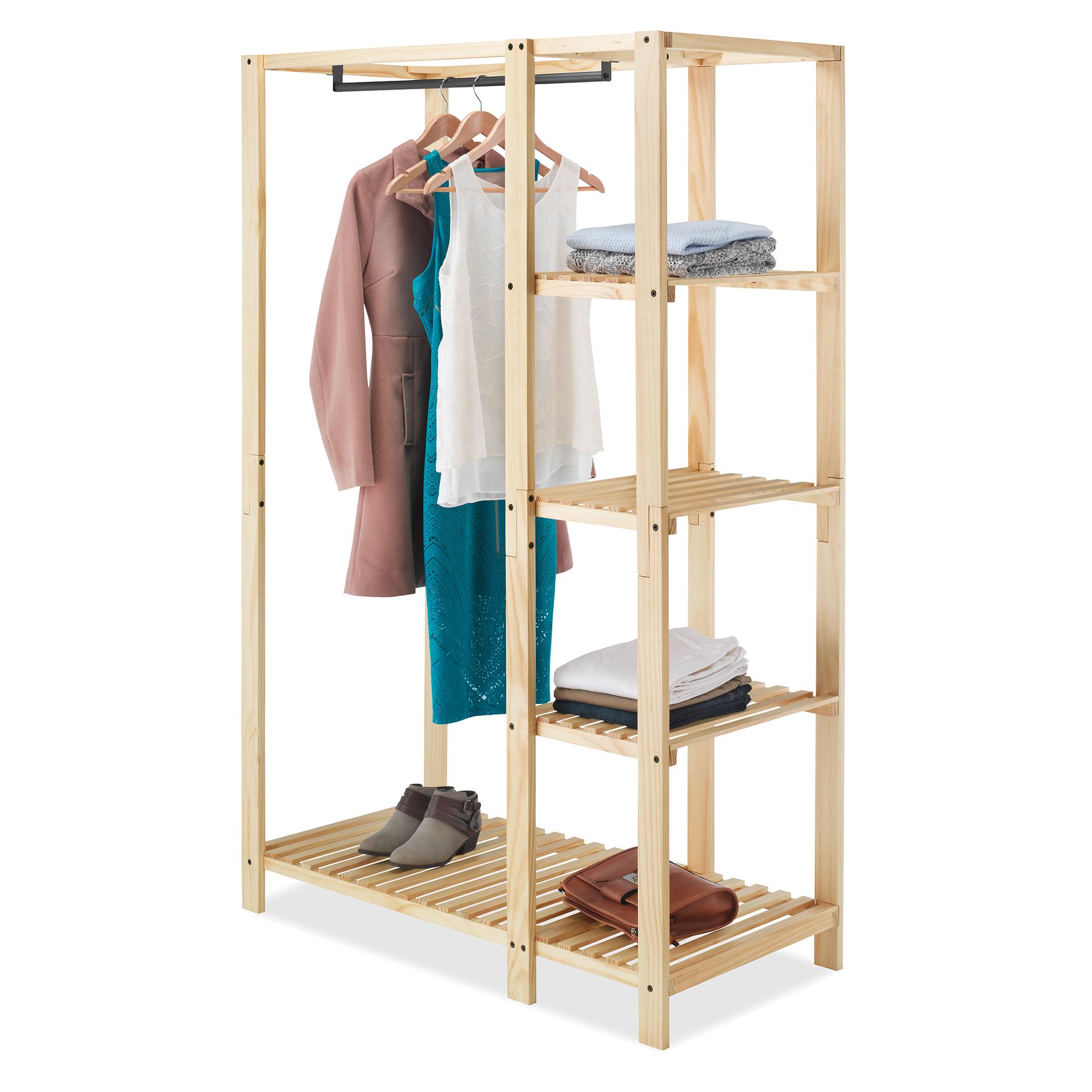 "Whitmor 6301-5244 20.13"" X 44"" X 68"" Natural Colored Slat Wood Wardrobe"