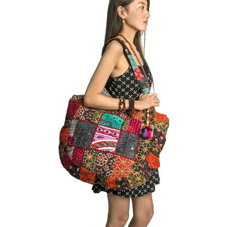 Hippie Handmade Shoulder Beach Bag Tote Boho Chic Patchwork Embroidered Purse Red