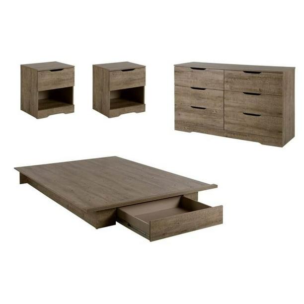 4 Piece Bedroom Set With Dresser Bed And Set Of 2 Nightstand In Weathered Oak Walmart Com Walmart Com