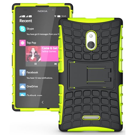 Lime Green Silicone Skin (NAKEDCELLPHONE NEON LIME GREEN GRENADE SKIN HARD CASE COVER STAND FOR NOKIA XL PHONE)