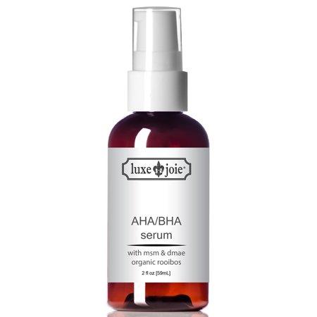AHA BHA Serum Alpha Hydroxy Acid Facial Serum with DMAE MSM Hyaluronic (Best Aha Bha Serum)