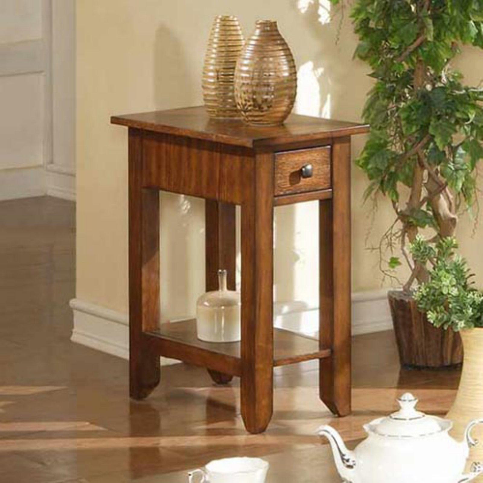 Zahara 1 Drawer Small End Table - Mission Oak